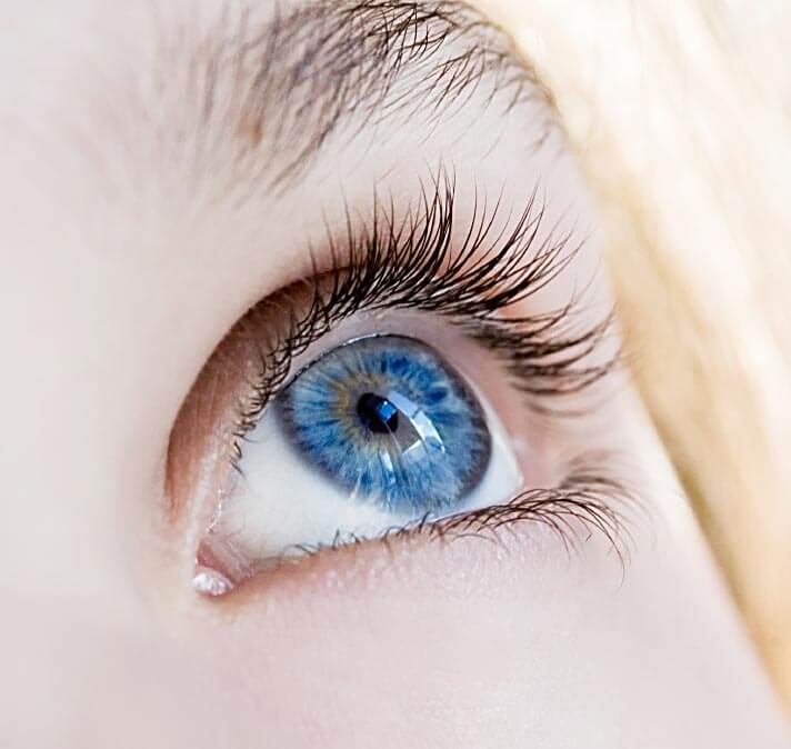 Closeup of woman's blue eye