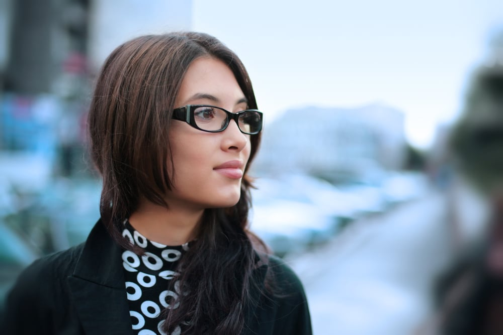 Stylish woman in glasses