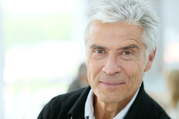 senior man with gray hair