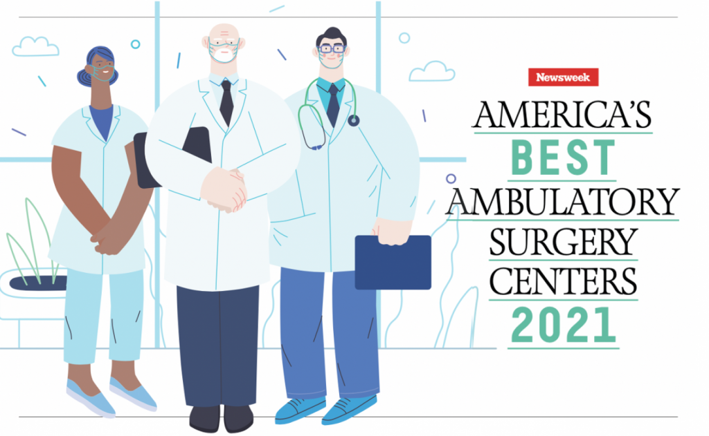 """Graphic with cartoon doctors, and the text """"America's Best Ambulatory Surgery Centers 2021"""""""